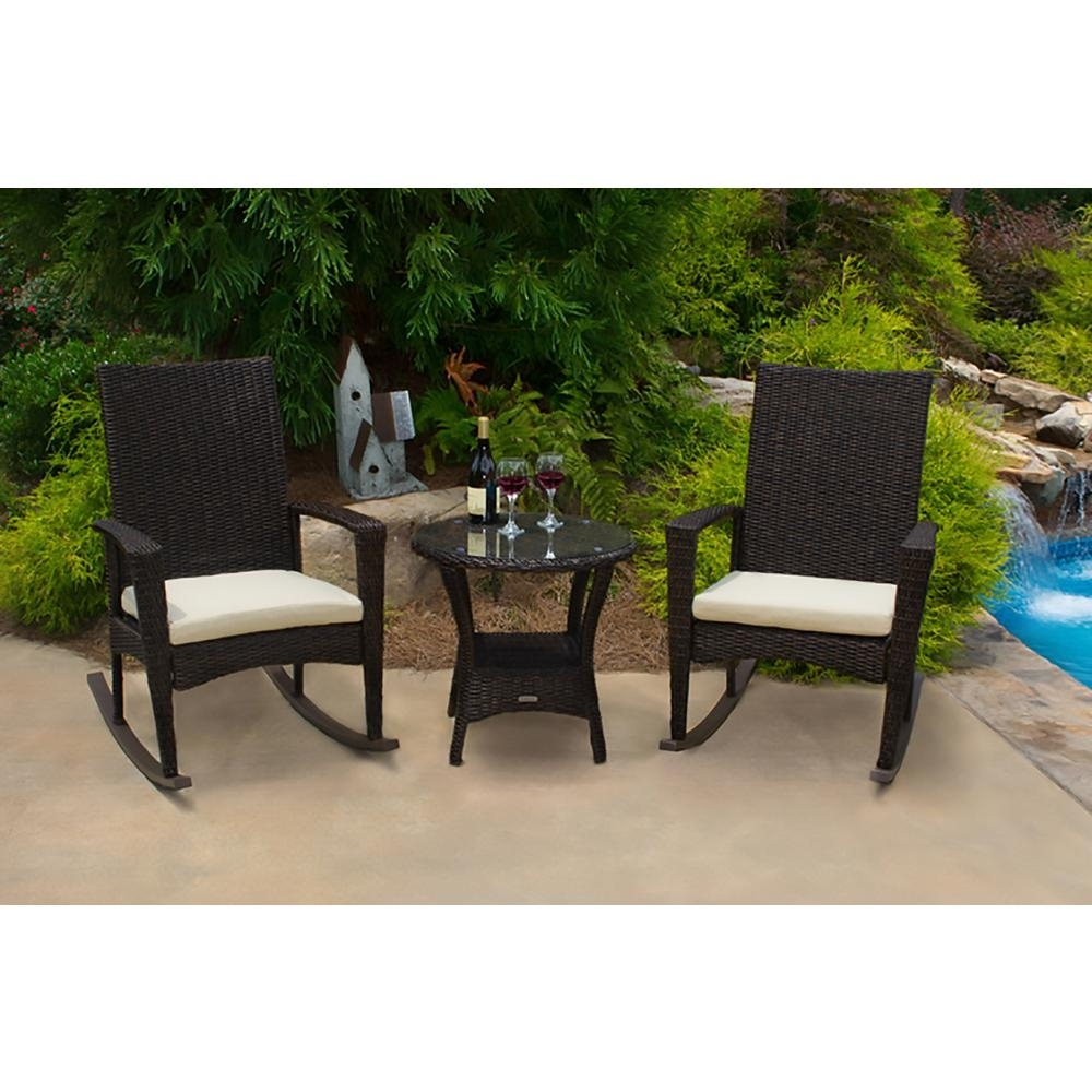 Inspiration about Tortuga Outdoor Bayview Pecan 3 Piece Wicker Outdoor Rocking Chair With Regard To Wicker Rocking Chairs Sets (#7 of 15)