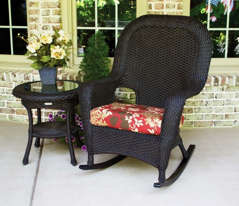 Tortuga Outdoor Lexington Wicker 2 Piece Rocker And Side Table Set With Regard To Black Patio Rocking Chairs (View 11 of 15)