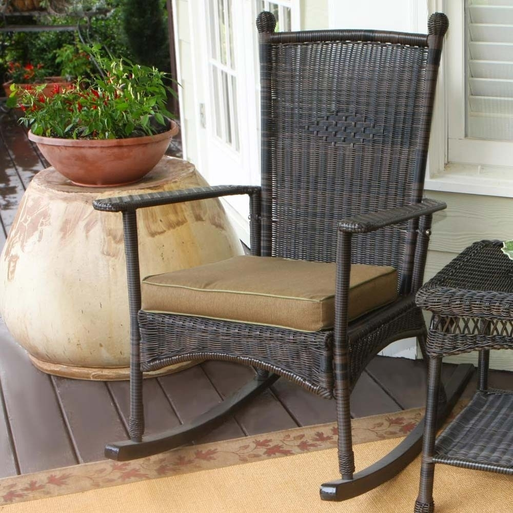 Popular Photo of Rattan Outdoor Rocking Chairs