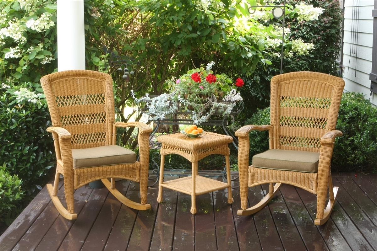 Tortuga Outdoor Portside Plantation 3Pc Rocking Chair Set Pertaining To Patio Rocking Chairs Sets (#12 of 15)