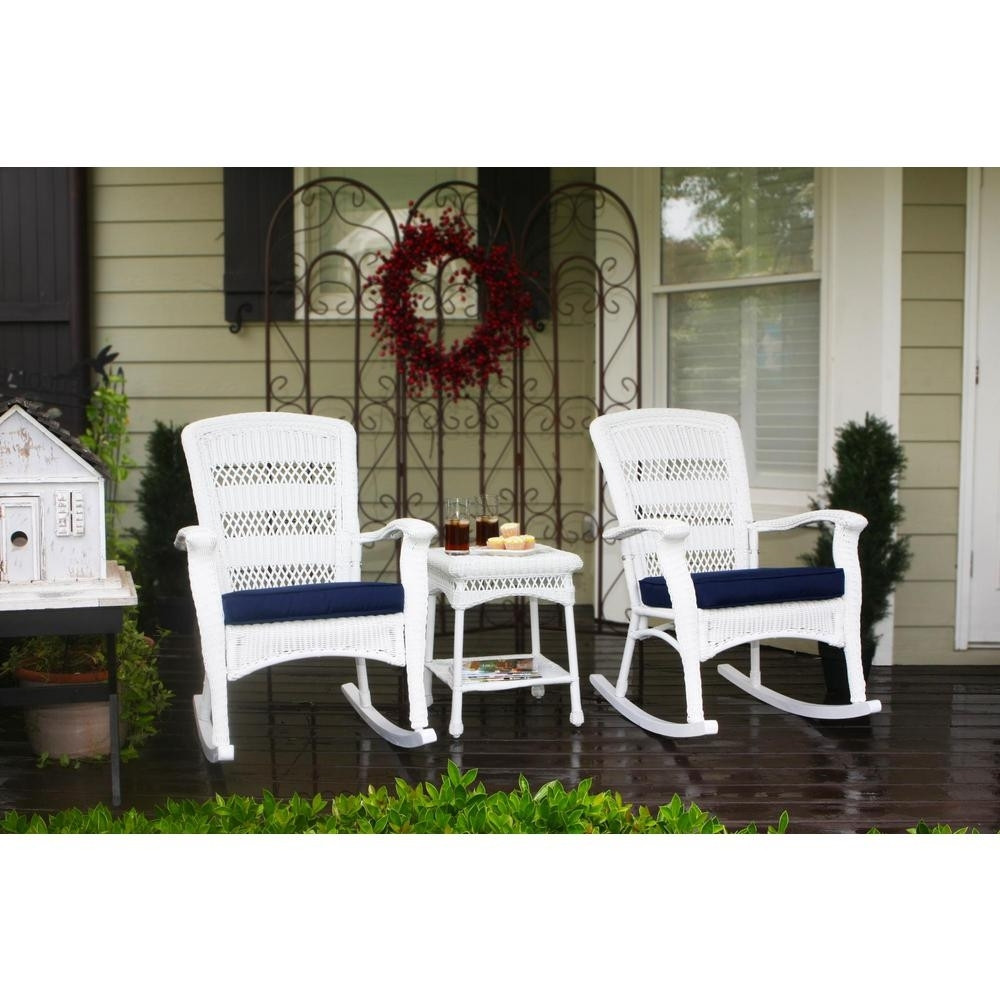 Inspiration about Tortuga Outdoor Portside Plantation White 3 Piece Wicker Outdoor With Outside Rocking Chair Sets (#14 of 15)