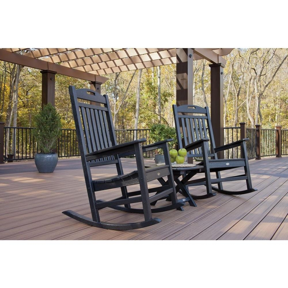 Inspiration about Trex Outdoor Furniture Yacht Club Charcoal Black 3 Piece Patio Pertaining To Patio Rocking Chairs Sets (#1 of 15)