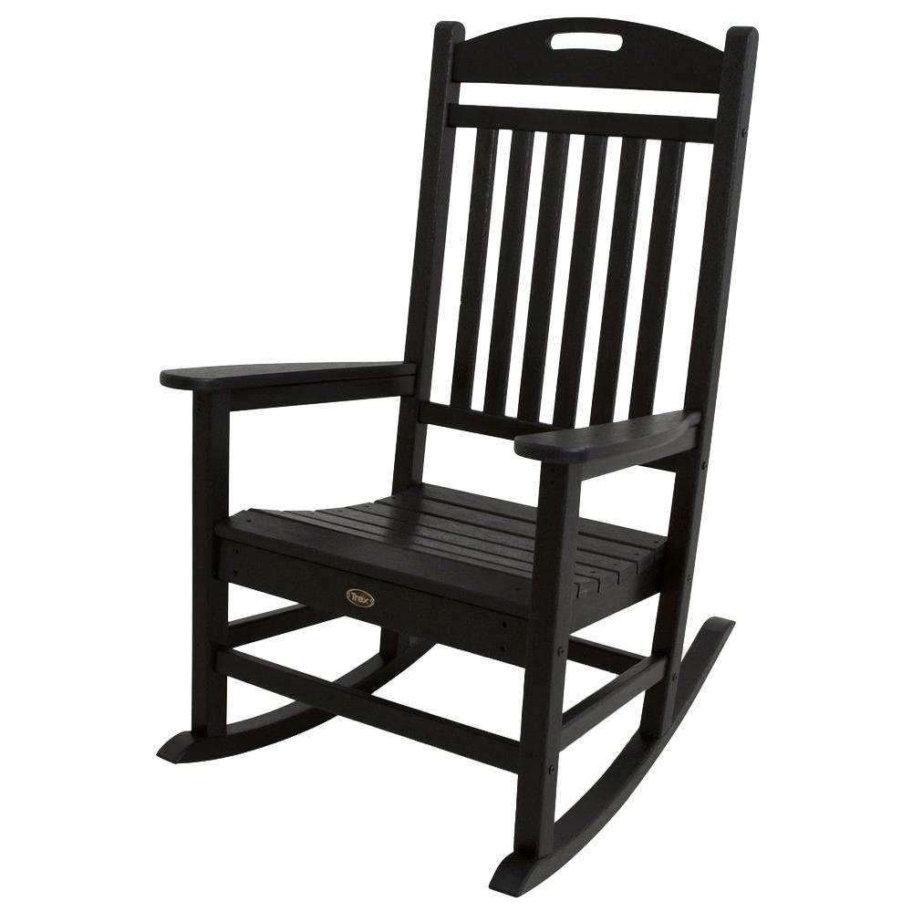 Trex Outdoor Furniture Yacht Club Charcoal Black Patio Rocker Throughout Black Patio Rocking Chairs (#15 of 15)