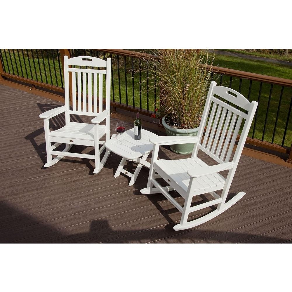 Trex Outdoor Furniture Yacht Club Classic White 3 Piece Patio Rocker Throughout Outdoor Rocking Chairs With Table (#14 of 15)
