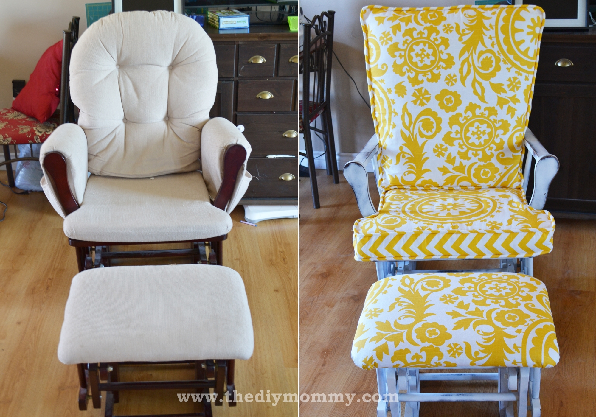 Inspiration about Update A Nursery Glider Rocking Chair | The Diy Mommy With Regard To Upcycled Rocking Chairs (#13 of 15)