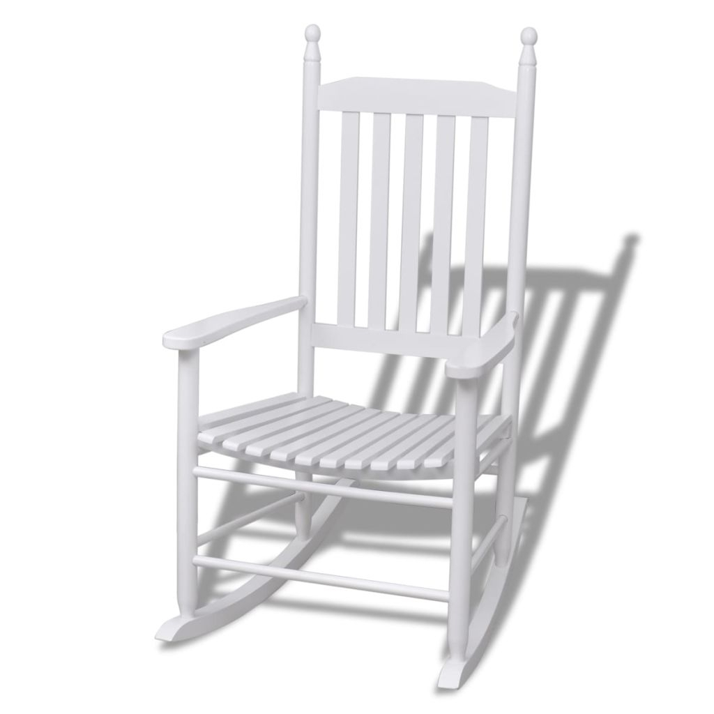 Vidaxl Wood Rocking Chair White Curved Seat In Garden Chairs From With Regard To Xl Rocking Chairs (View 9 of 15)