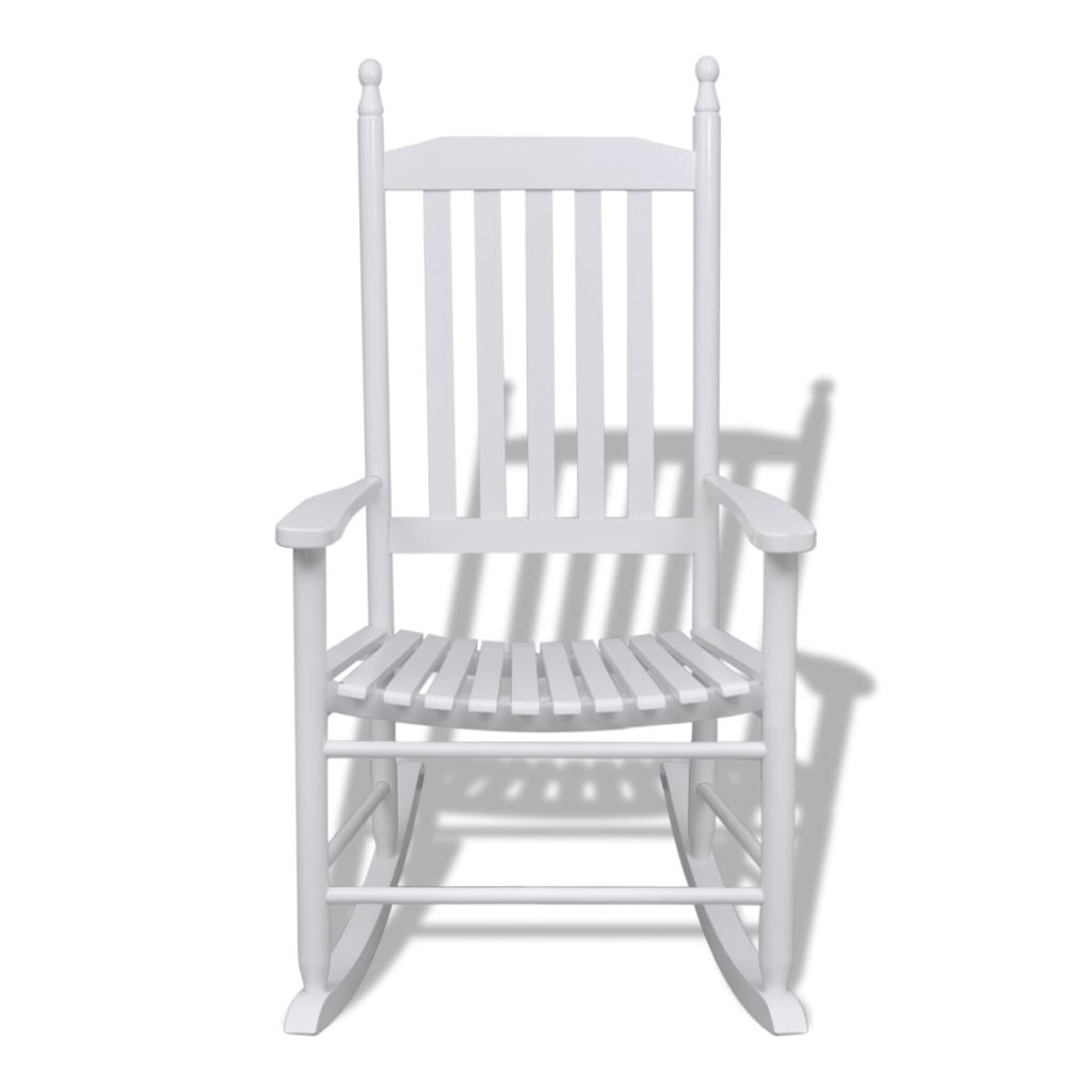 Inspiration about Vidaxl Wood Rocking Chair White Curved Seat In Garden Chairs From Within Xl Rocking Chairs (#14 of 15)