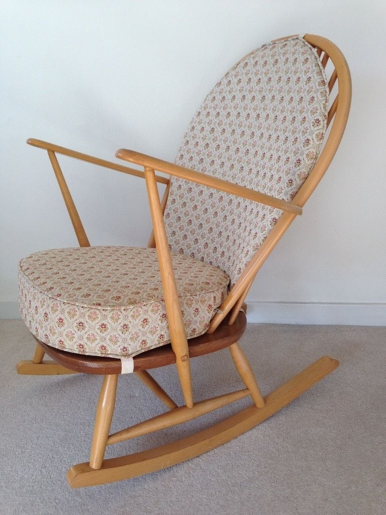 Inspiration about Vintage Ercol Blonde Windsor 315 Grandfather Rocking Chair With For Upcycled Rocking Chairs (#14 of 15)