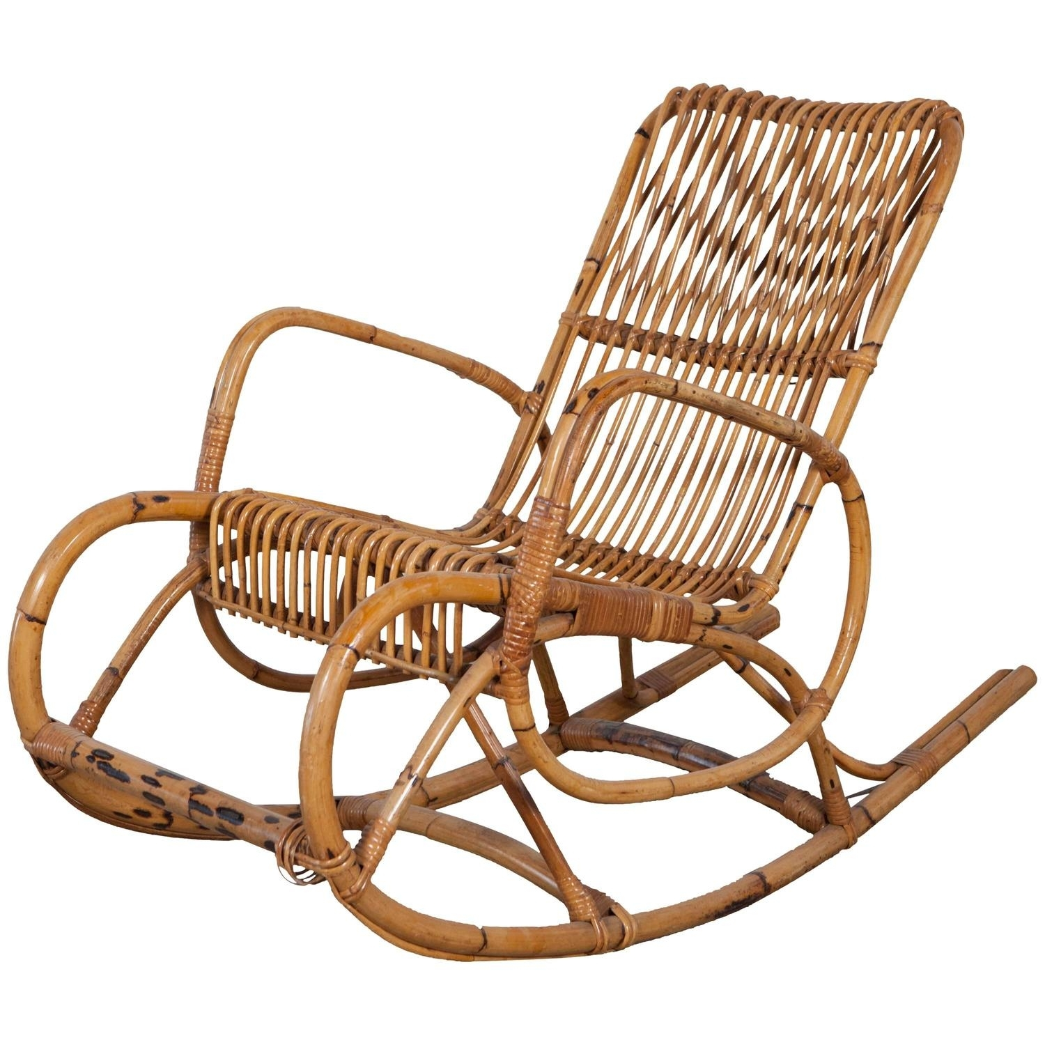 Vintage Italian Bamboo Rocking Chair With Square Arms At 1Stdibs With Antique Rocking Chairs (#15 of 15)
