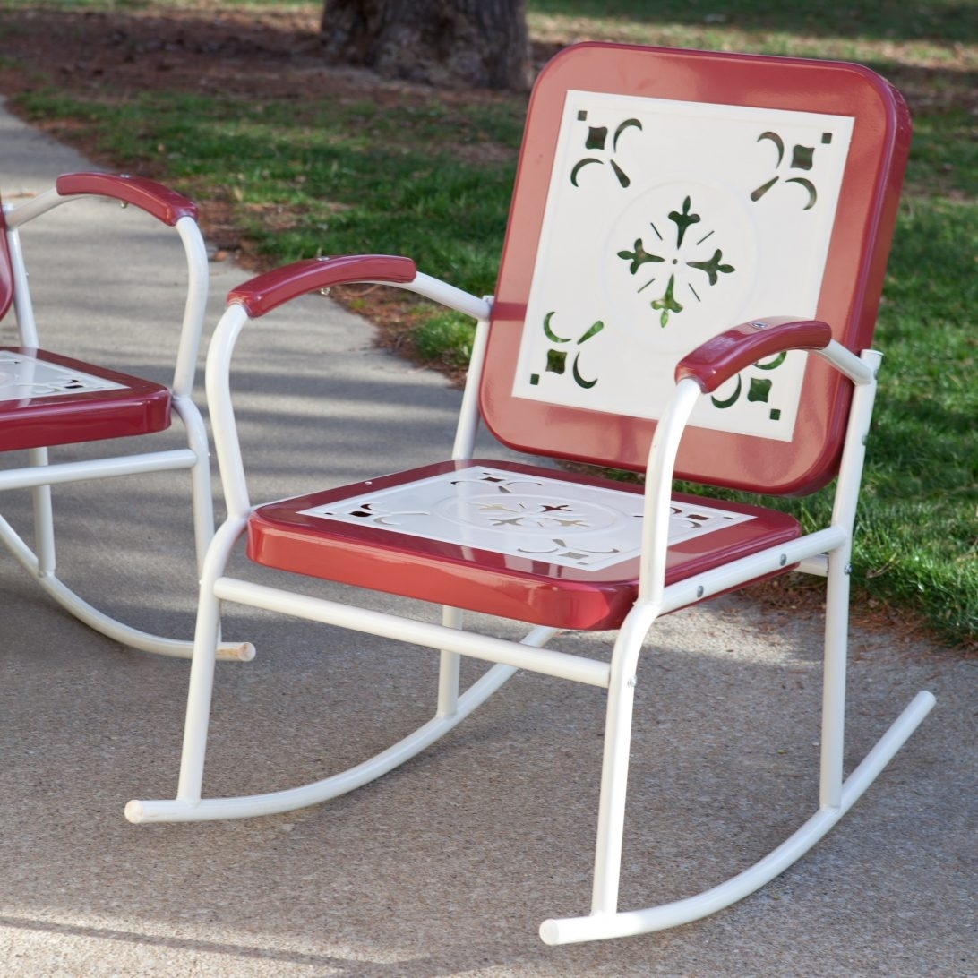 Vintage Metal Lawn Chairs Set Fresh Painted Vintage Modern Plastic With Retro Outdoor Rocking Chairs (#13 of 15)