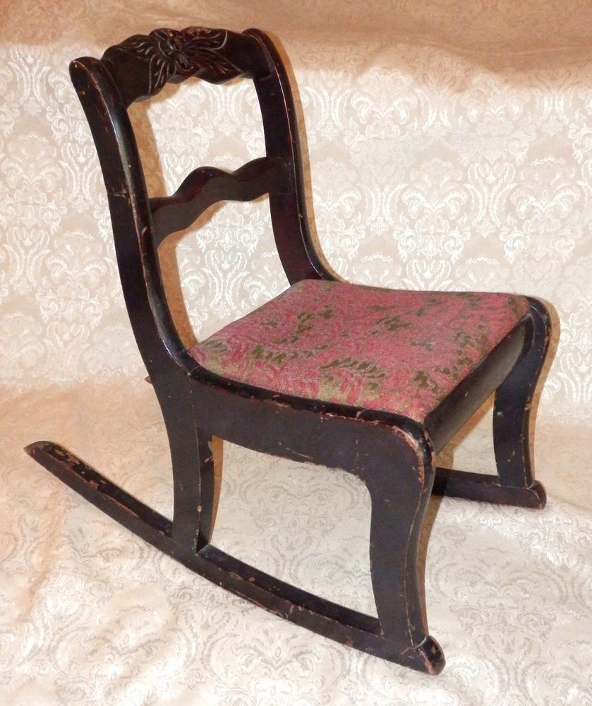Vintage Tell City Mahogany Duncan Phyfe Carved Rose Childs Rocker Intended For Rocking Chairs At Roses (View 14 of 15)