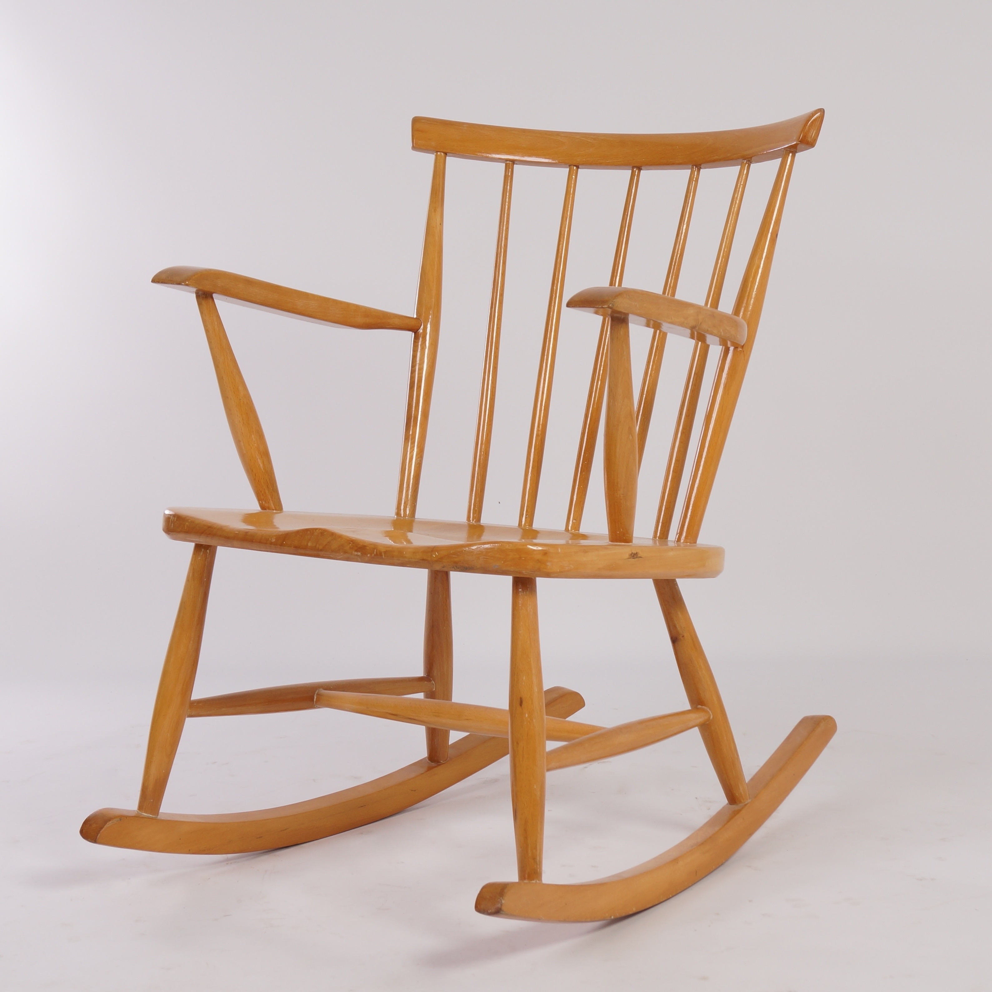 Vintage | Vintage Birch Wood Rocking Chair From The 60S | Ztijl Throughout Retro Rocking Chairs (View 13 of 15)