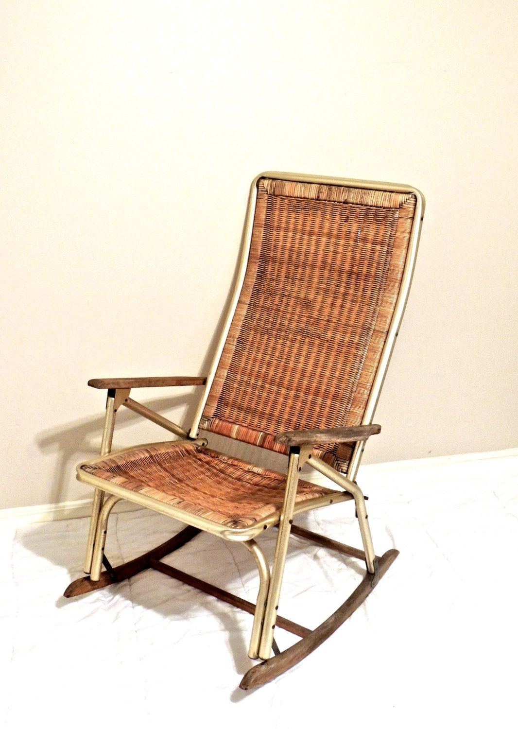 Vintage Wicker Rocking Chair – 1950S 60S Mid Century Gold/wicker Within Vintage Wicker Rocking Chairs (#8 of 15)