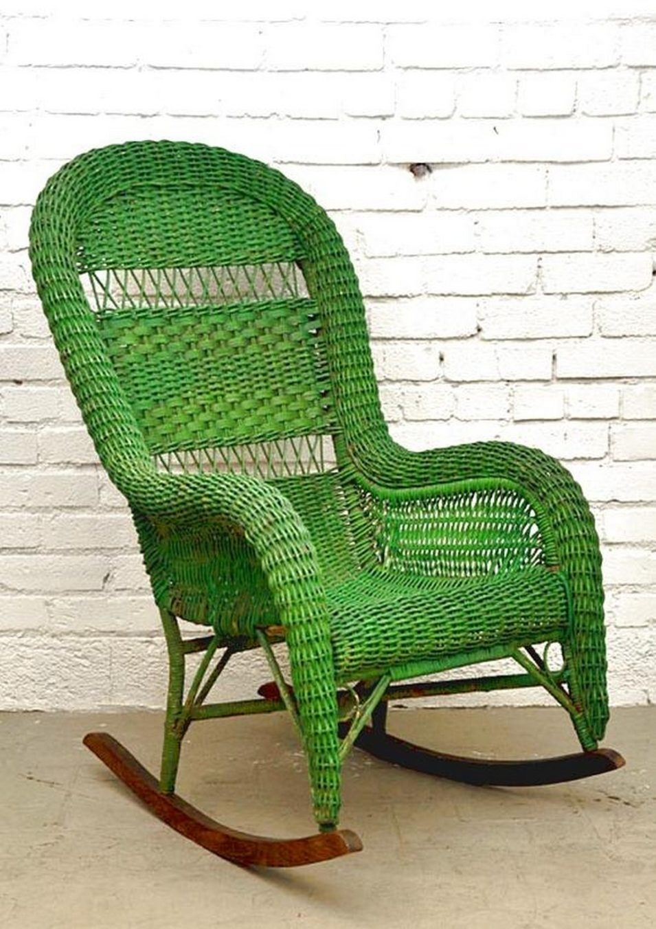 Vintage Wicker Rocking Chair With Green Color | Nytexas Within Vintage Wicker Rocking Chairs (#11 of 15)