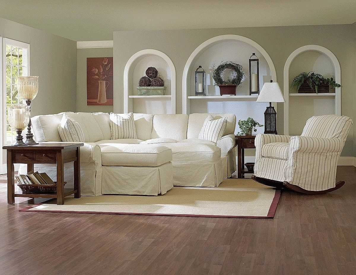 White Fabric Sofa For Additional Home Decorating Ideas With Within Rocking Chairs For Living Room (#15 of 15)