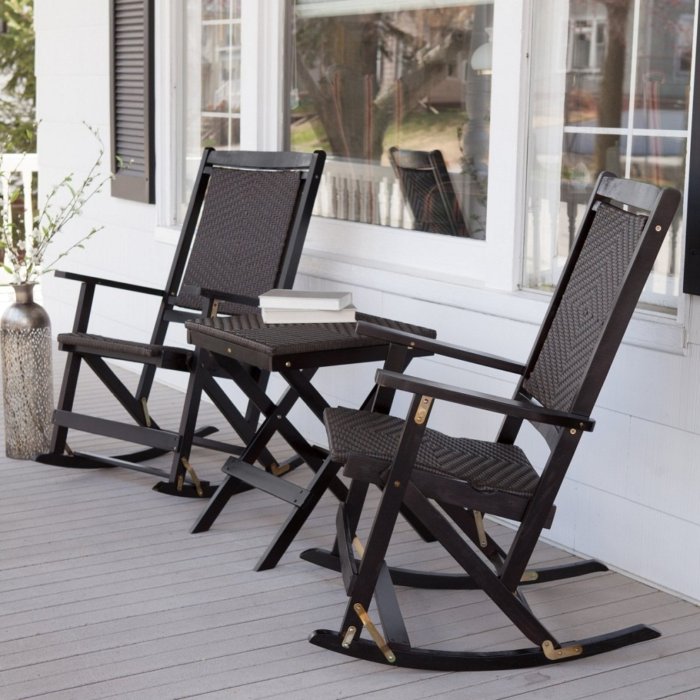 Inspiration about White Patio Rocking Chair Wood Wicker Set Bradley Slat 67 Inside Outside Rocking Chair Sets (#5 of 15)
