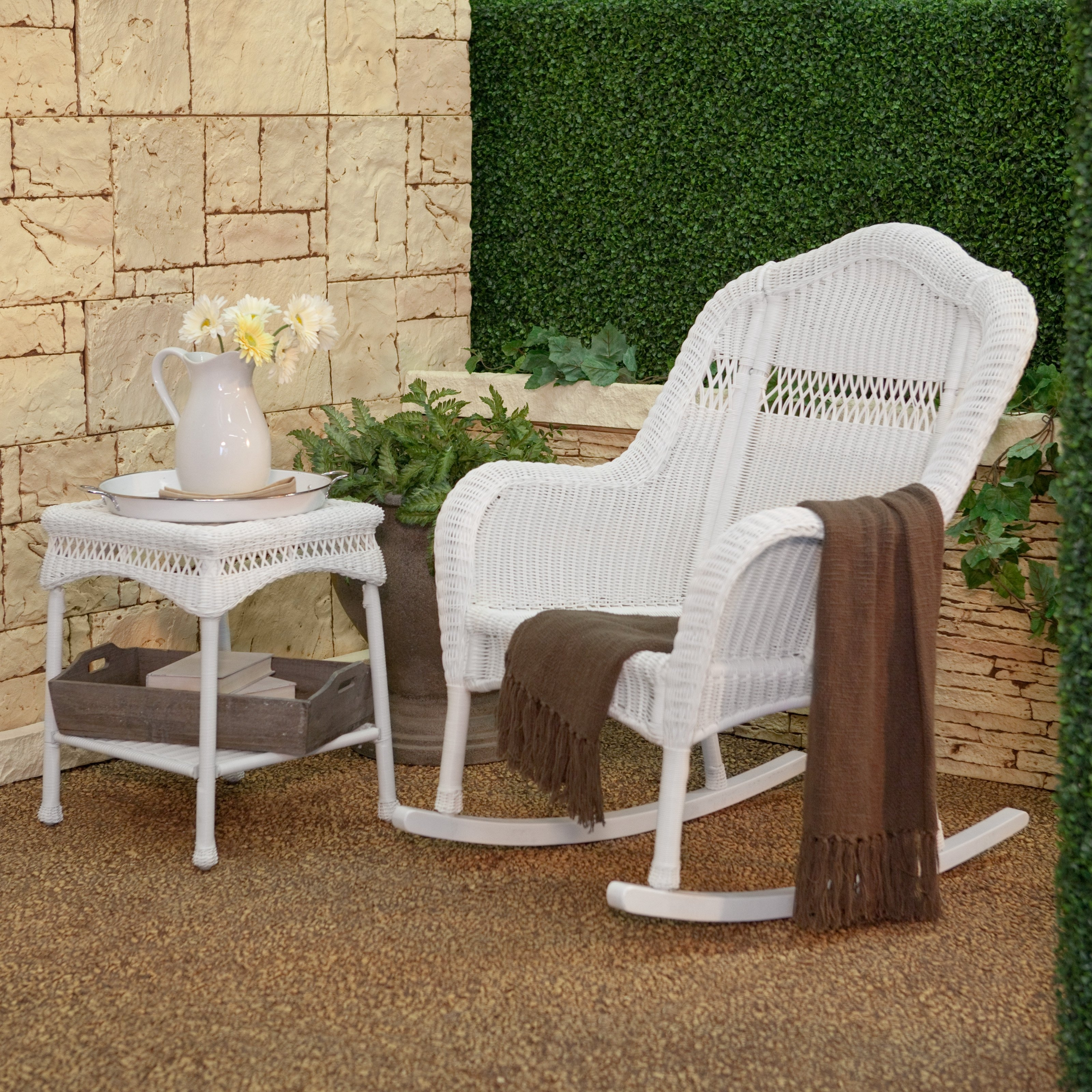 White Resin Wicker Rocker Out Of Box Communication Rocking Chair With Outdoor Wicker Rocking Chairs With Cushions (#15 of 15)