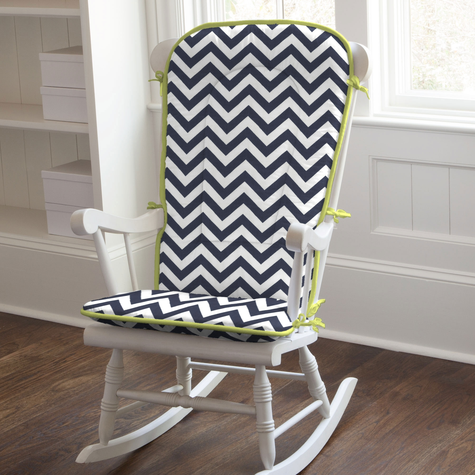 White Wooden Indoor Rocking Chairs With White Black Zigzag Striped Inside Rocking Chairs With Cushions (View 15 of 15)
