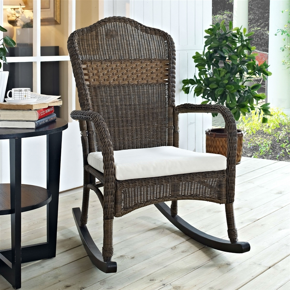 Wicker Patio Furniture Rocking Chair Mocha With Beige Cushion For Brown Wicker Patio Rocking Chairs (#15 of 15)
