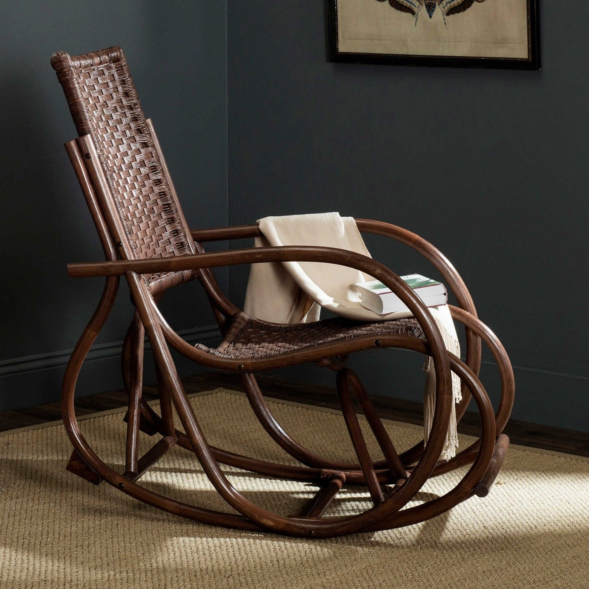 Wicker Rocking Relaxing Chair Vintage Furniture Living Room Outdoor For Vintage Wicker Rocking Chairs (#15 of 15)