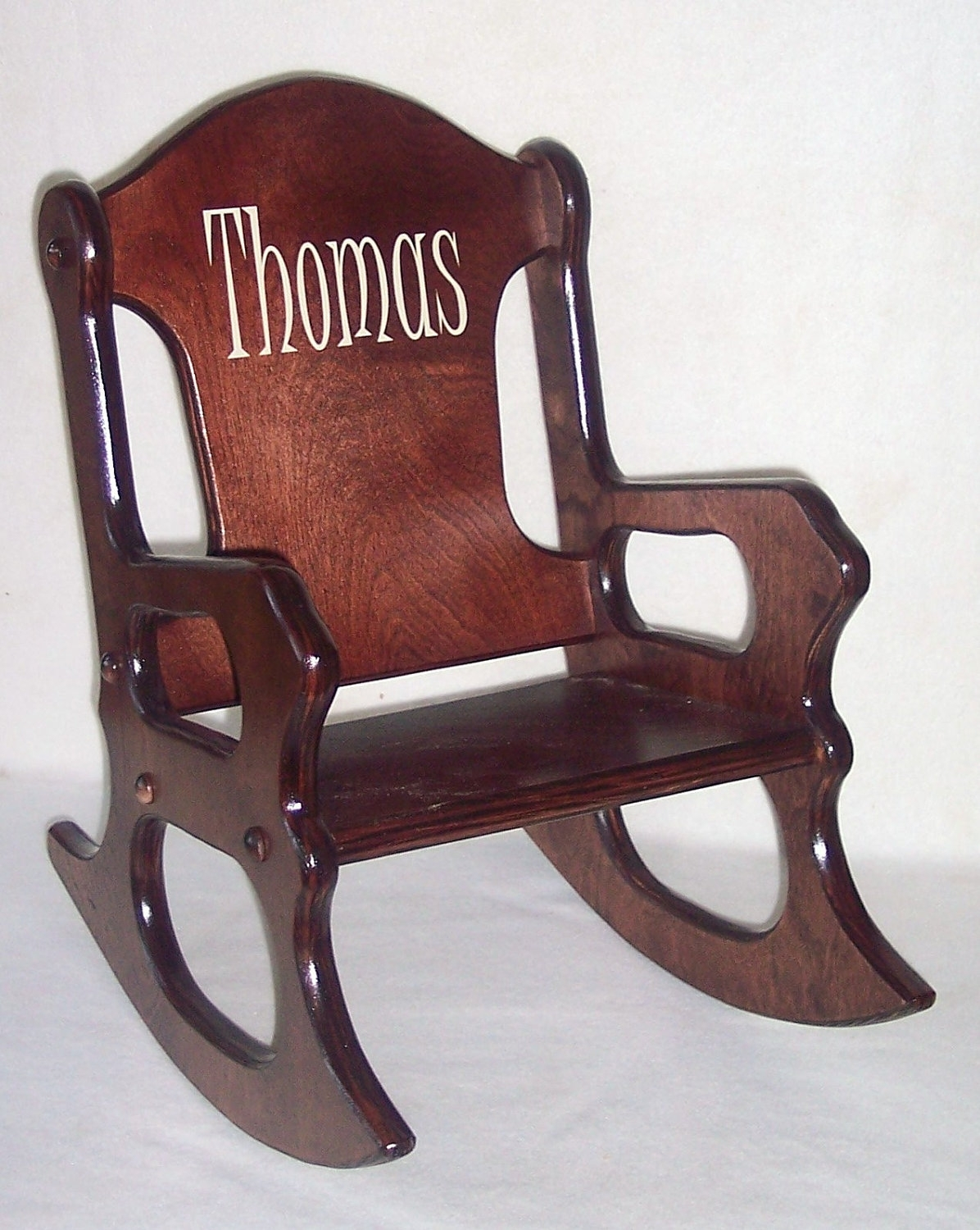 Inspiration about Wooden Kids Rocking Chair Personalized Cherry Finish, Kid Wood Chair Within Rocking Chairs For Toddlers (#8 of 15)