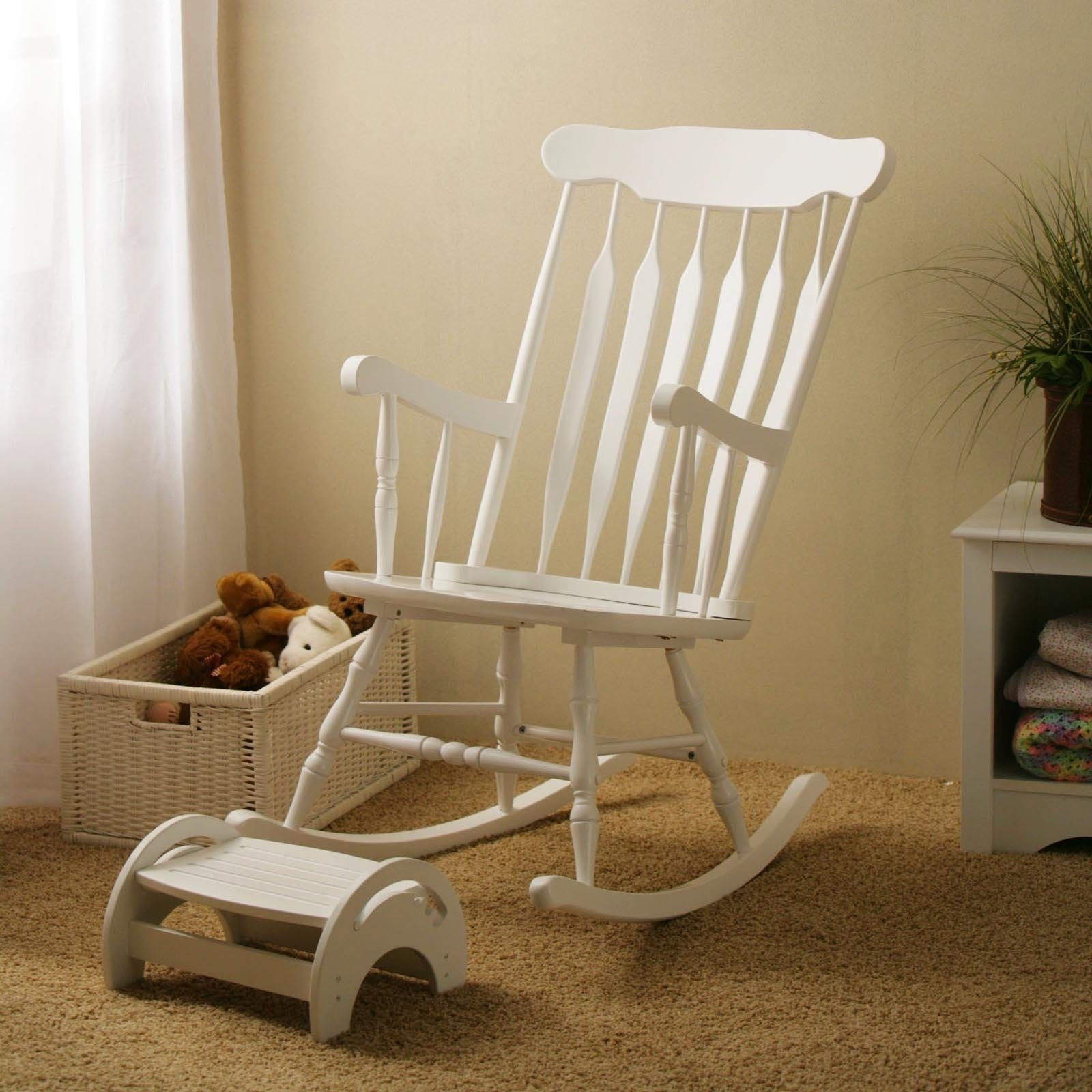 Wooden Nursing Rocking Chair — Wilson Home Ideas : Making Nursing Pertaining To White Wicker Rocking Chair For Nursery (View 14 of 15)