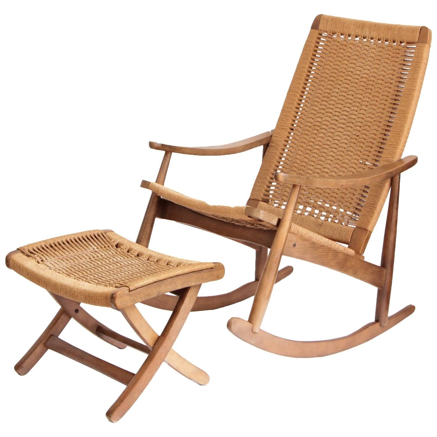 Woven Rope Mid Century Modern Rocking Chair And Ottoman At 1Stdibs With Regard To Rocking Chairs With Ottoman (#15 of 15)