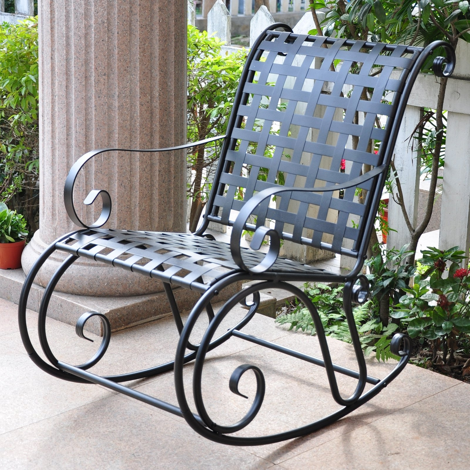 Inspiration about Wrought Iron Rocking Chair Patio Furniture Designs Outdoor Chairs Inside Iron Rocking Patio Chairs (#5 of 15)