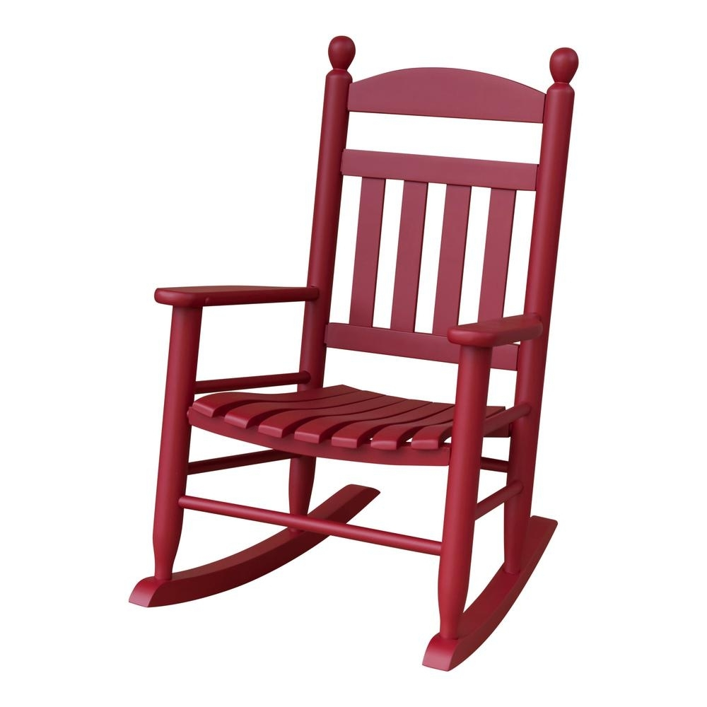 Youth Slat Red Patio Rocking Chair 201Sef Rta The Home Depot Small Intended For Small Patio Rocking Chairs (#15 of 15)