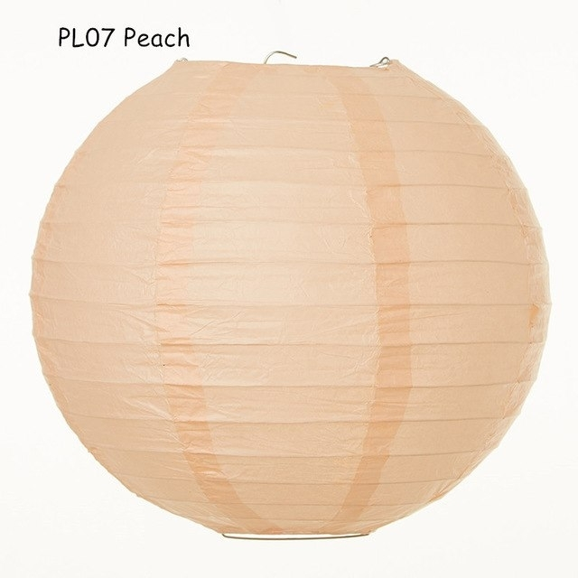 Inspiration about 10Inch=25Cm 10Pcs/lot Peach Japanese Round Paper Lantern Hanging Within Outdoor Round Lanterns (#11 of 15)