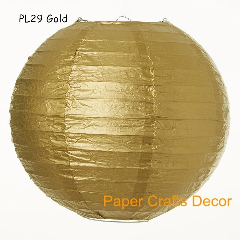 16inch=40cm Gold Large Round Chinese Hanging Paper Lanterns Indoor Within Outdoor Round Lanterns (View 13 of 15)
