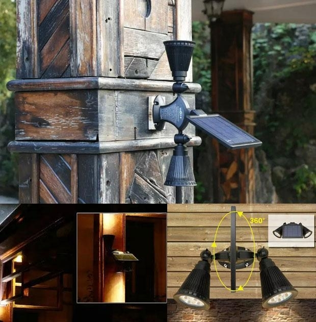 Inspiration about 2018 Led Solar Light Lamps Solar Led 2 Heads Flood Lights Garden In Outdoor Lawn Lanterns (#7 of 15)
