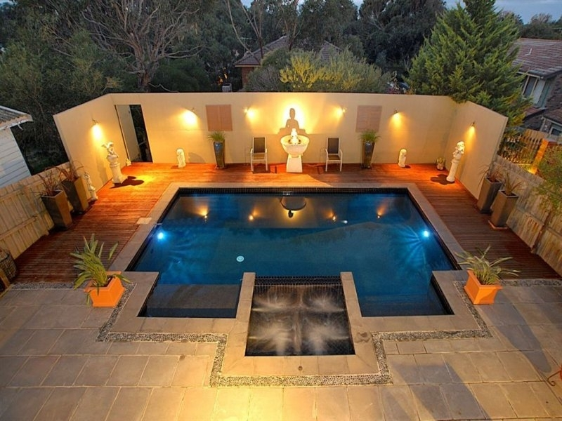 Inspiration about 25 Impressive Inground Hot Tub And Pool Ideas For Your Home | Carnahan Regarding Outdoor Lanterns For Poolside (#7 of 15)