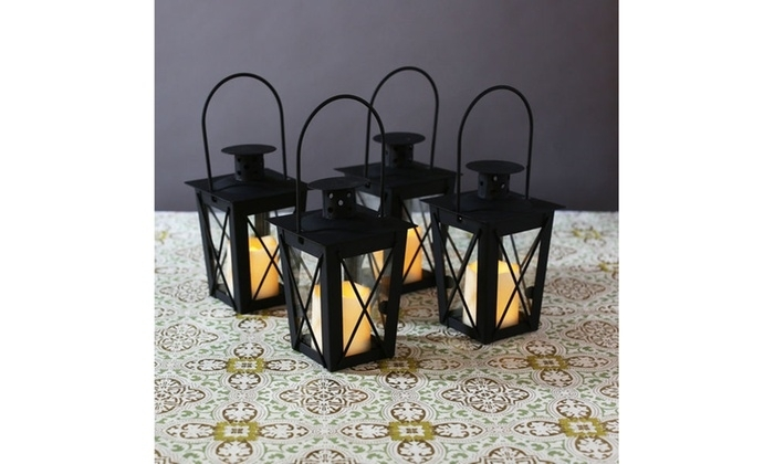 4 Hanging Outdoor Black Mini Lanterns Led Flameless Flickering With Regard To Outdoor Lanterns And Votives (View 8 of 15)