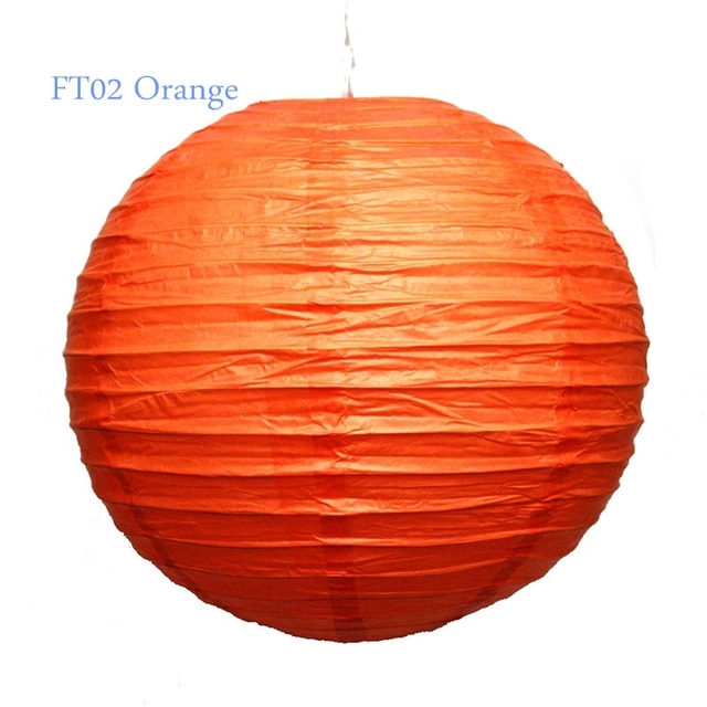 5Pcs/lot 35Cm (14Inch) Handmade Round Rice Paper Lantern Ball With Outdoor Orange Lanterns (#1 of 15)