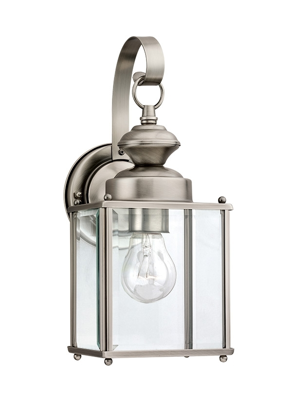 8457 965,one Light Outdoor Wall Lantern,antique Brushed Nickel Throughout Nickel Outdoor Lanterns (View 12 of 15)