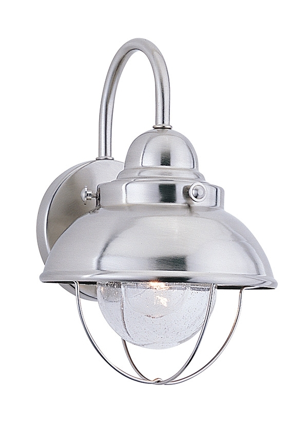 8870 98,one Light Outdoor Wall Lantern,brushed Stainless Regarding Nantucket Outdoor Lanterns (View 15 of 15)
