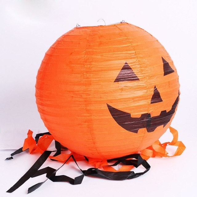 8inch Halloween Paper Pumpkin Lanterns Scary Smile Face Hanging For Outdoor Pumpkin Lanterns (View 8 of 15)