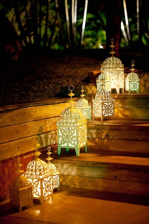 A Cute Set Of Simple Moroccan Lanterns Used Outdoors In A Garden Inside Moroccan Outdoor Electric Lanterns (View 4 of 15)