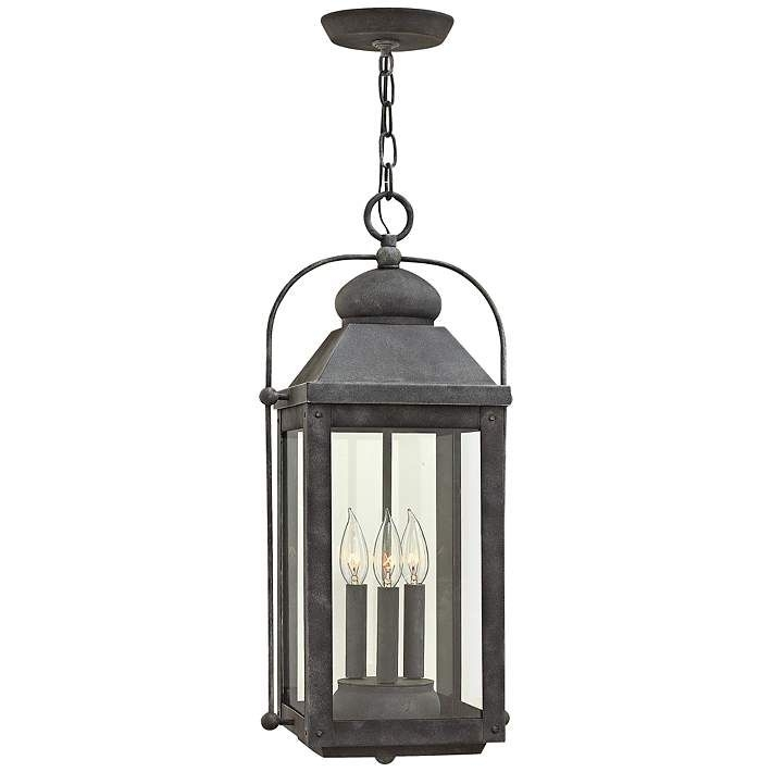 "Anchorage 23 3/4"" High Aged Zinc Outdoor Hanging Lantern 
