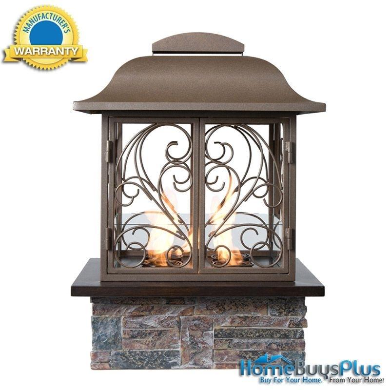 Angelica Portable Gel Fuel Fireplace Indoor Outdoor Patio Brown W Regarding Outdoor Gel Lanterns (View 2 of 15)