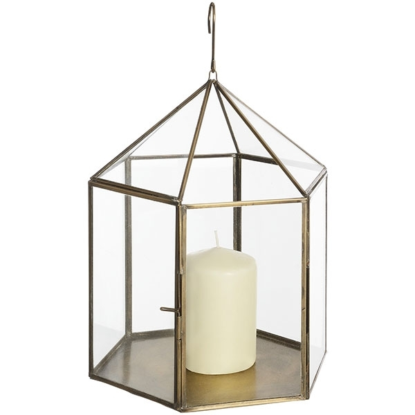 Antique Brass Hanging Glass Lantern For Votive Pillar Tea Light Candle Inside Outdoor Lanterns And Votives (View 11 of 15)