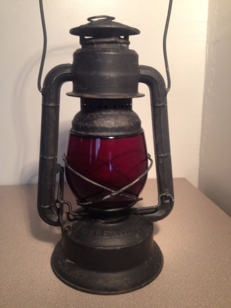 Antique Vintage Dietz Little Wizard Red Glass Black Railroad Lantern Regarding Outdoor Railroad Lanterns (View 10 of 15)