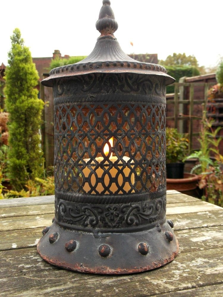 Antique Vintage Style Moroccan Large Garden Lantern Candle Holder Intended For Moroccan Outdoor Lanterns (View 8 of 15)