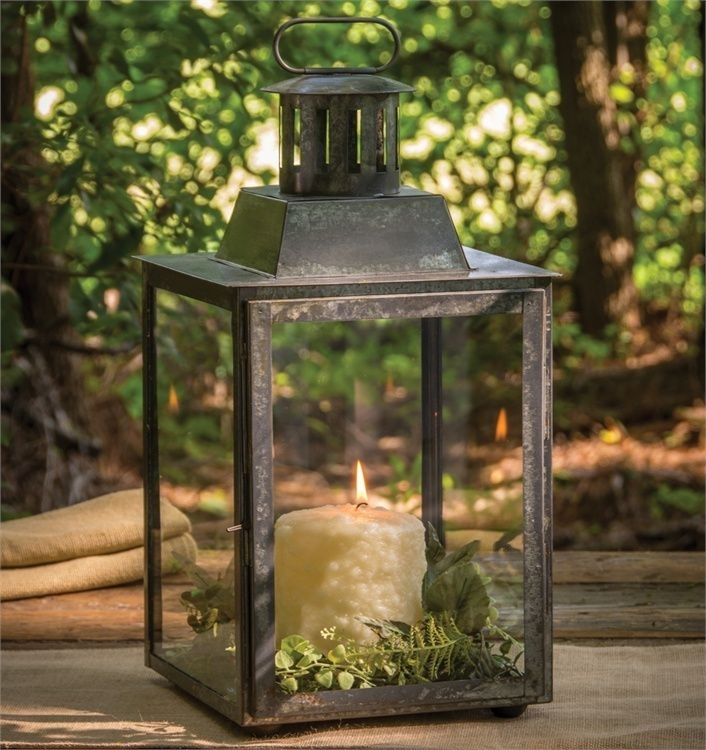 Antique Zinc Square Candle Lantern 18"