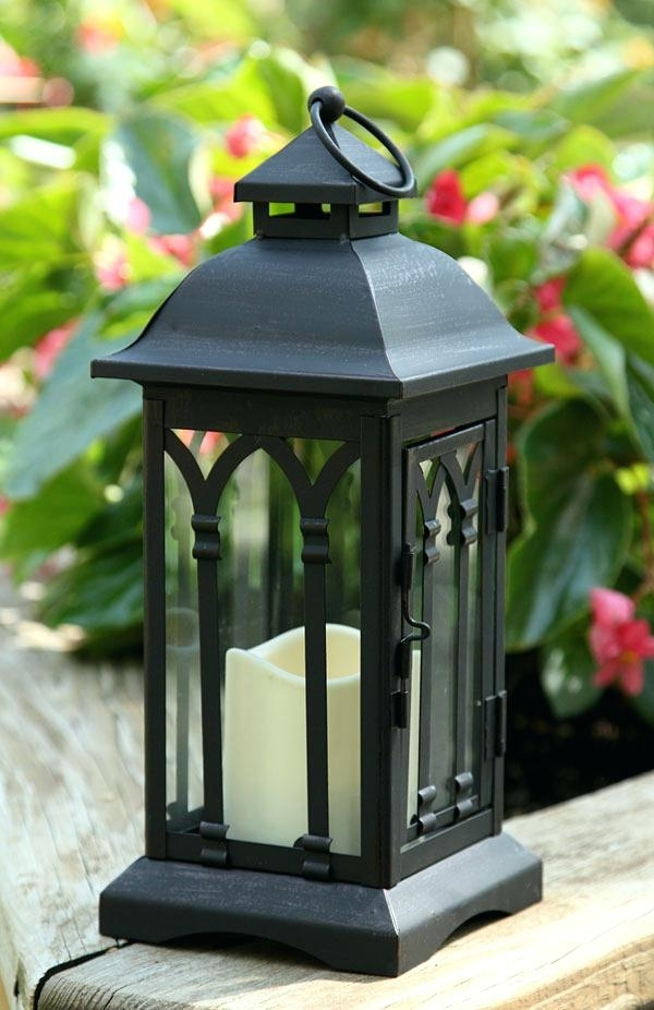 Battery Operated Inch Black Metal Candle Lantern 6 Hour Timer Within Moroccan Outdoor Electric Lanterns (View 12 of 15)