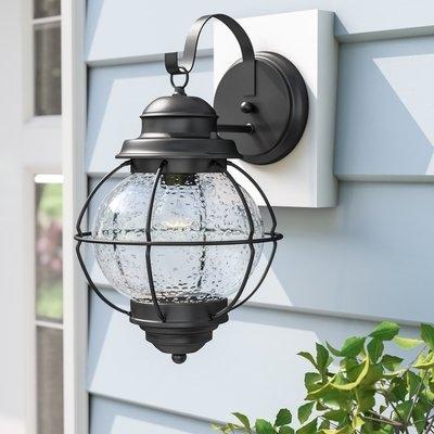 Beachcrest Home Cason 1 Light Outdoor Wall Lantern & Reviews | Wayfair In Joanns Outdoor Lanterns (View 7 of 15)