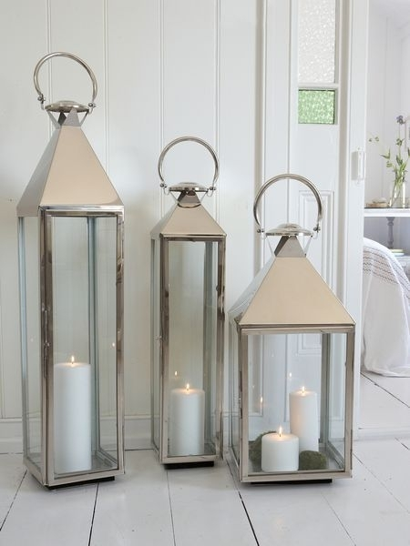 Big Stainless Steel Lanterns | Candle Ideas To Light My Way Pertaining To Outdoor Lanterns With Candles (View 7 of 15)