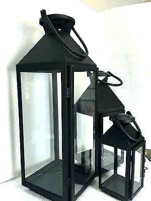 Black Outdoor Lanterns Solar Metal Lantern Set Of 2 Large Hanging With Regard To Set Of 3 Outdoor Lanterns (View 4 of 15)