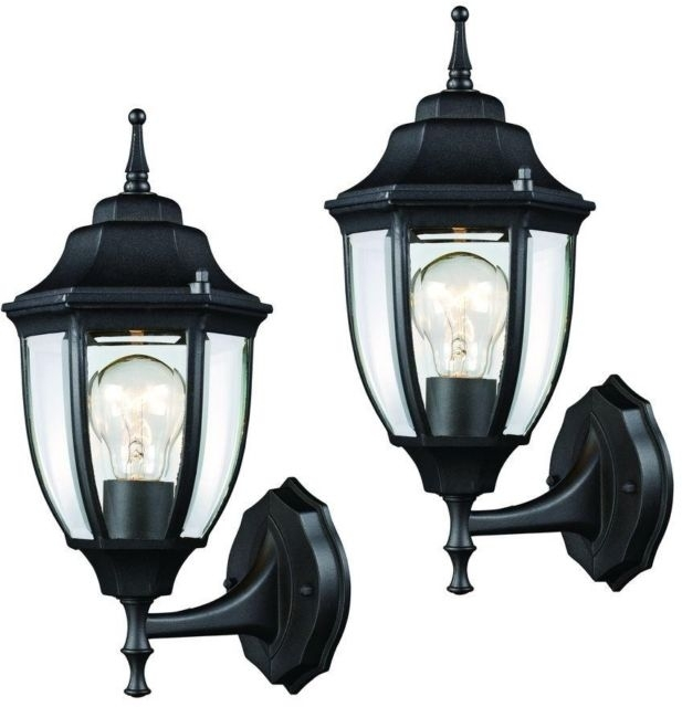 Black Outdoor Wall Lantern 2 Pack Hampton Bay Weather Resistant Cast Intended For Outdoor Weather Resistant Lanterns (#5 of 15)